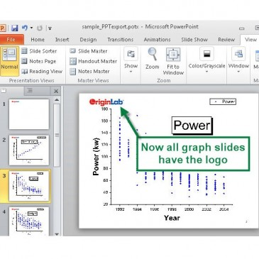 How to setup Powerpoint template with company logo and Send Origin Graphs to it
